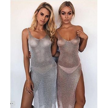 Halter Split Bathing Suit Swimsuit Pareo Sun Dresses Lady Beach Cover Ups Mesh Sexy Hollow Tunic Sarongs Beachwear