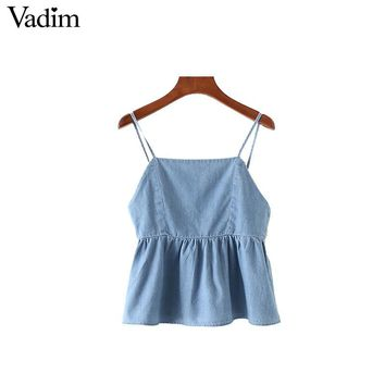 Vadim women blue denim sleeveless loose tank top shirts sweet bow tie backless solid ladies summer casual tops blusas WT493