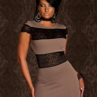 SEXY Taupe Black Cut Out Lace Color Block Mini Dress Cocktail Party Clubwear