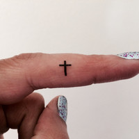 20 Cross Temporary Tattoo Tiny Cross / Fake Tattoos / Set of 20 / Tattoo