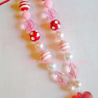 Valentines Day Pink and Red heart necklace, bubble gum necklace, toddler boutique necklace, baby chunky necklace, ribbon chunky necklace