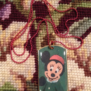 Disney's Classic 1950's Minnie Mouse Gold Dog Tag Necklace