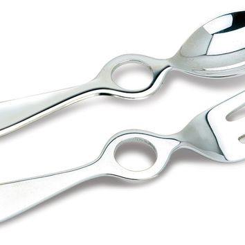 Sterling Silver Baby Circle Spoon & Fork Set