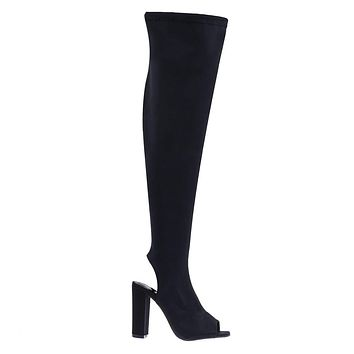 Joann16 Peep Toe Knee High Boot, Chunky Block Heel, Inner Zipper, Elastic Shaft