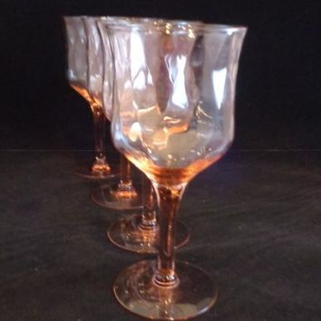 Peachy Pink Optic Diamond Pattern Goblets  S/4