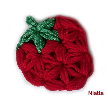 Tiny Strawberry Pin Brooch Applique Jewelry Crochet Niatta
