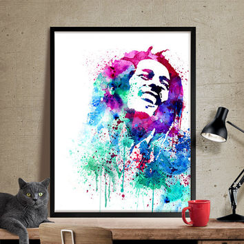 Bob Marley Watercolour Painting,Bob Marley Art, Wall Art Poster, Bob Marley Decor, Art Print, For Gift,Celebrity Portraits (25)