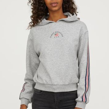 Printed Hooded Sweatshirt - Light gray/Sunset Boulevard - Ladies | H&M US