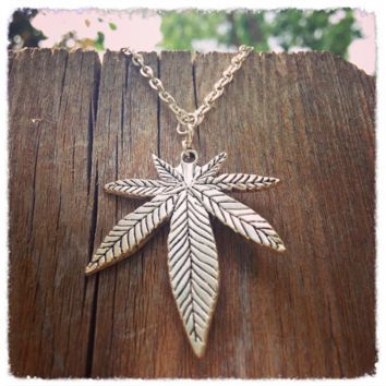 Handmade Antique Silver Hemp Leaf Necklace