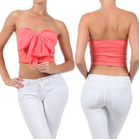 CROP TOP CORAL PINK BOW CHIFFON STRAPLESS TUBE SWEETHEART SUMMER SHIRT NEW SEXY