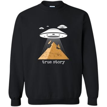 Ancient Alien Theory Novelty  - UFO Conspiracy  Printed Crewneck Pullover Sweatshirt