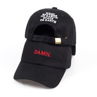 DAMN Hats for men and woman Embroidered DAMN. Dad Hat Hip Hop Stitched Kendrick lamar Unstructured Rapper Snapback Baseball Cap