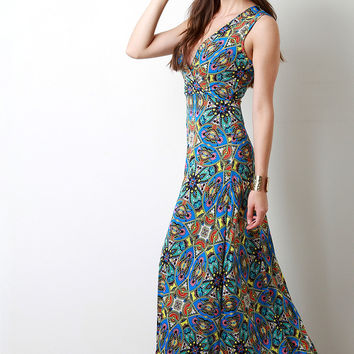 Paisley Boho Print Surplice Sleevess Maxi Dress