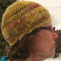 Crocheted Beanie Hat with Flower and Wooden Button