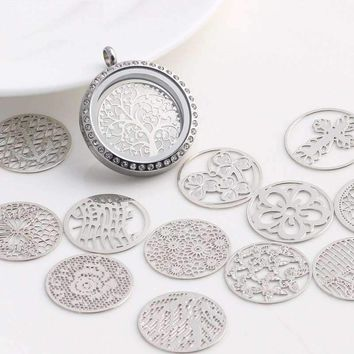 Round Cut Out Plate for Round Charm Locket Necklaces ~Choose Your Theme!