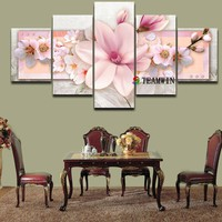 Canvas Painting Wall Art Picture Home Decoration Print Art Oil Painting On Canvas Flower Modular Poster Layered Wall Pictures