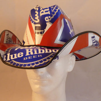 2c18054d664 Beer Box Cowboy Hats. Made from recycled Pabst Blue Ribbon Beer boxes.  Beerhat.