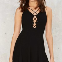 Shadow Me Lace-Up Dress