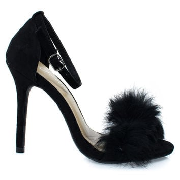Rubina53 Black By Forever Link, Fluffy Feather Furry Strap High Heel Open Toe Sandal