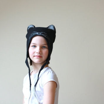 Black cat hat - felted wool cat kids hat - black white girl hat