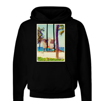 Lifeguard Station Watercolor Dark Hoodie Sweatshirt