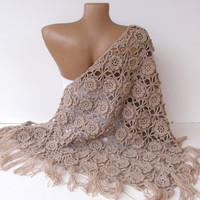 shawl women crocheted shawl  beige shawl  Wrap  Stole Shrug  beige crochet shawl