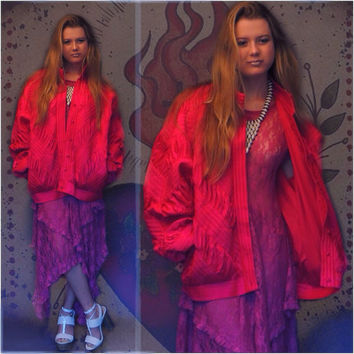 Vintage silk oversize batwing bomber jacket / Shocking pink haute hippie  chevron ruched gathered pintucked