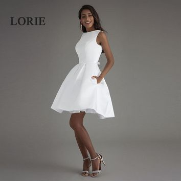 LORIE Short Beach Wedding Dresses 2017 Vestido Noiva Praia Simple New White Real Photo Backless A-Line Prom Party Bridal Gowns
