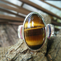 Natural TIGER EYE Stone ring, Tigers Eye, Gents ring, signet ring, statement ring, stone ring, Medieval ring, ExquisiteGem, Exquisite Gem