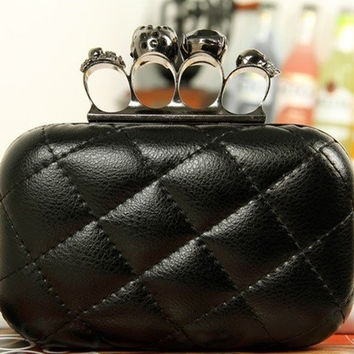 Women Leather Skull Purse Knuckle Handbag Clutch Evening Bag black with Chain
