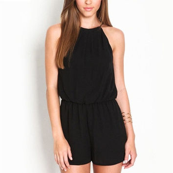 Balck Sexy Women Sleeveless Jumpsuits Rompers