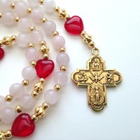 Red Heart Rosary, Rose Quartz Beads, Vintage Style Antique Gold Four Way Medal, Confirmation Gift, Catholic Rosary, Prayer Beads