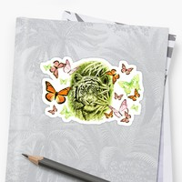 'Tiger and Butterflies' Sticker by GittaG74