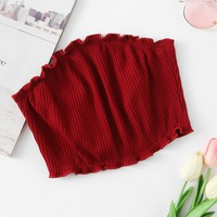 Frill Trim Ribbed Bandeau Top BURGUNDY