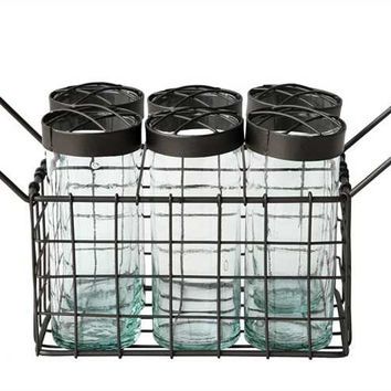 Metal Wire Basket with 6 Glass Jars
