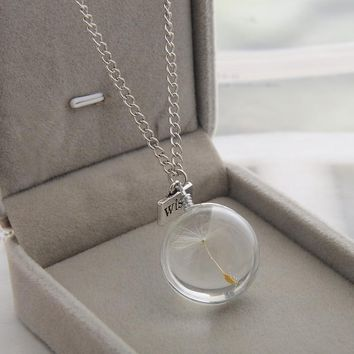Wish Real Dandelion Crystal Glass Round Pendants Necklace