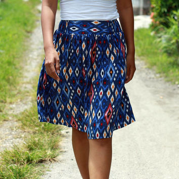 Women's Blue Skirt / Royal Blue Skirt /Midi Skirt Ethnic Blue / Tribal in Blue Skirt with Pockets / Blue Ikat Skirt / Elastic Waist SKirt