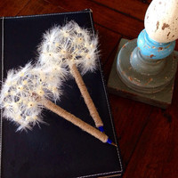 Wedding guestbook pen with dandelion flower top, recycled Rustic vintage shabby chic French country