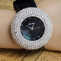 BlingBling Luxury Full Rhinestone Pave Frame Round Watch WQE