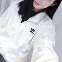 Adidas Originals Classic Fashion Hooded Zipper Cardigan Sweatshirt Jacket Coat Windbreaker Sportswear