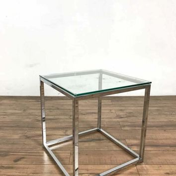 Contemporary Glass and Chrome End Table