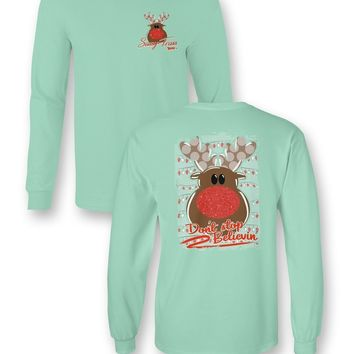 Sassy Frass Comfort Colors Don't Stop Believin Rudolph Christmas Long Sleeve Bright Girlie T Shirt