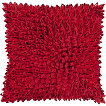 Dahlia Felt Ribbon Pillow  Red