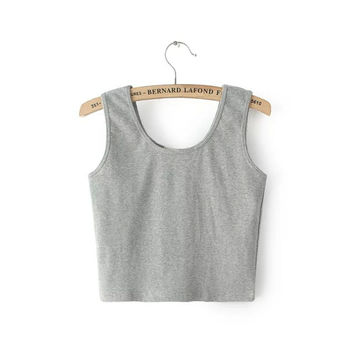 Comfortable Stylish Bralette Beach Hot Summer Korean Cotton Tops Sexy Crop Top Spaghetti Strap Vest [6651193153]