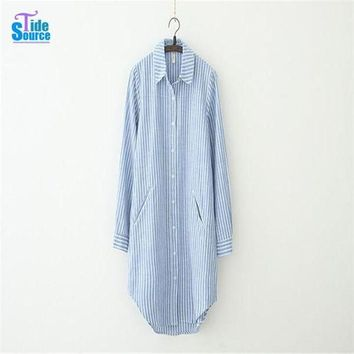 Tidesource 2016 New Fashion Striped Blusas Full Sleeve Single Breasted Long Shirt Women Tops Casual Loose Blouses With Pockets