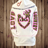 cool  white love country hoodie pink cheetah
