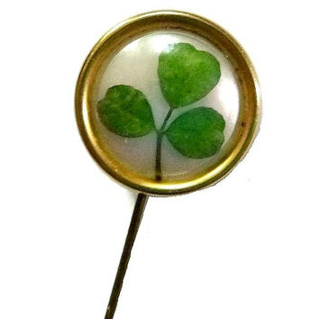 Antique Real Shamrock Hat Pin Victorian 3 Leaf Clover HatPin Edwardian Good Luck Brooch StickPin St Patricks Day Vintage Jewelry Gift Broach