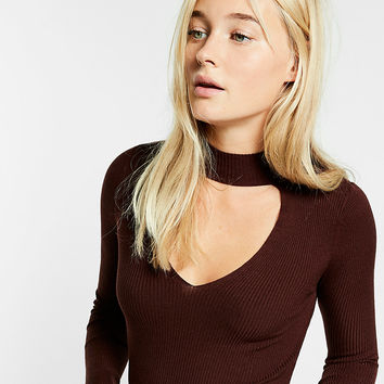 Long Sleeve Ribbed Cut-Out Choker Tee