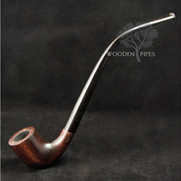 LONG Smoking Pipe. Churchwarden pipe 9,8'' & Pouch GIFT. Handcarved smoking pipe. Handmade. Wooden smoking pipe/pipes. WoodCraft.