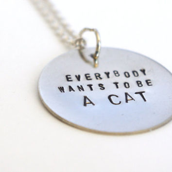 Disney Stamped Metal Necklace - Aristocats Quote